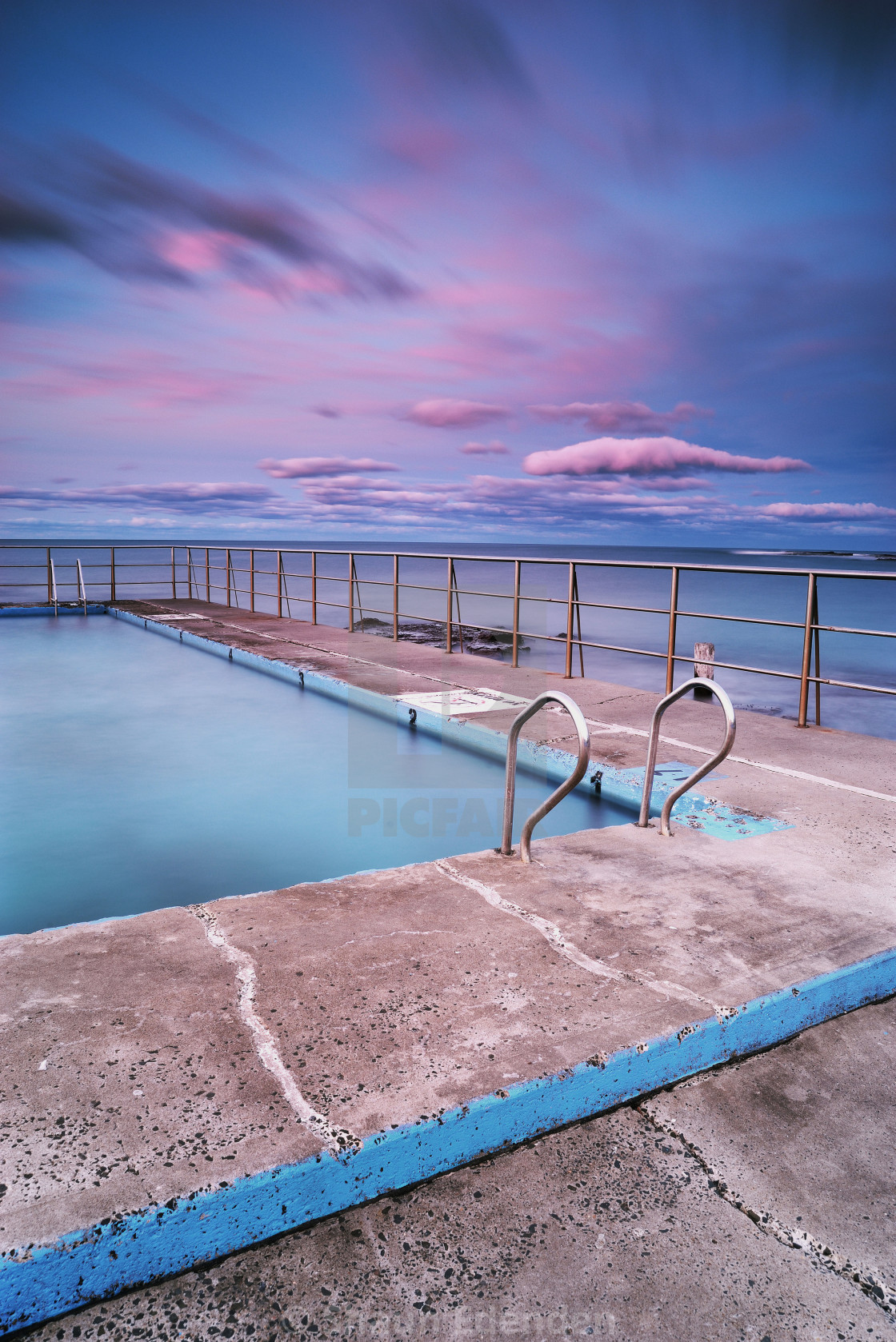 """Pool sunset"" stock image"
