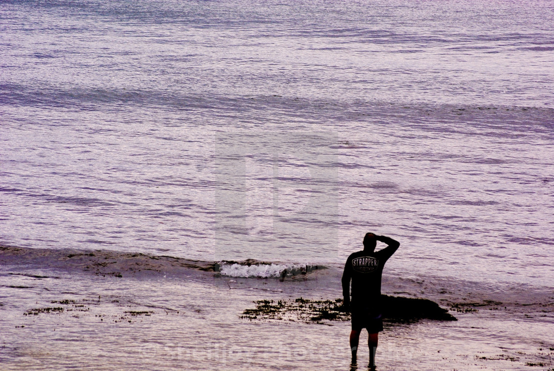 """""""Waiting for waves"""" stock image"""