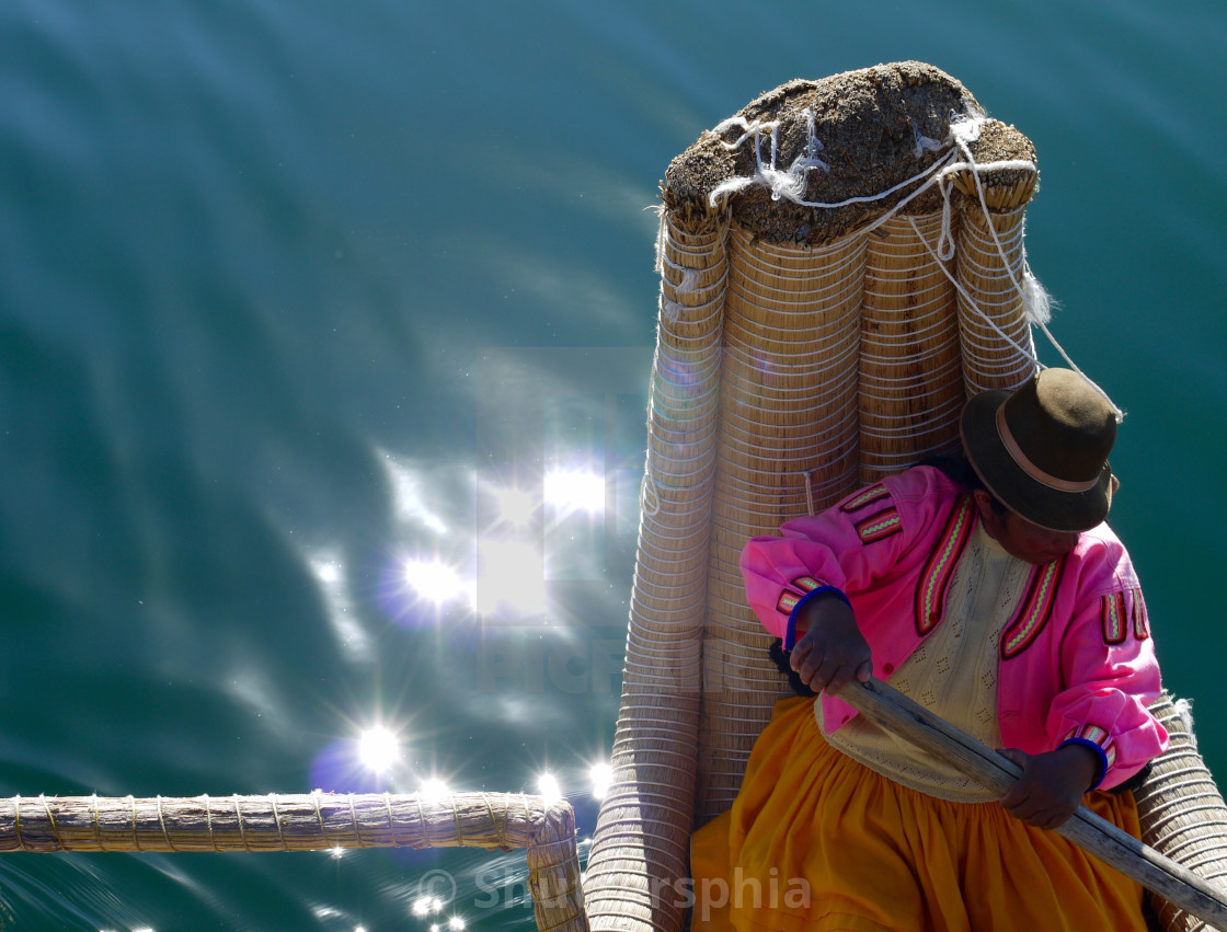 """""""Reed Boat Lady"""" stock image"""