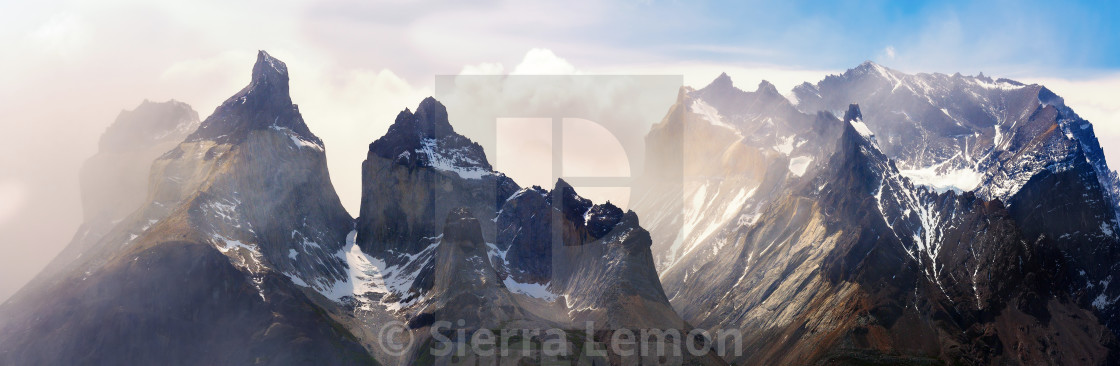 """Los Cuernos Sunset, Torres del Paine"" stock image"