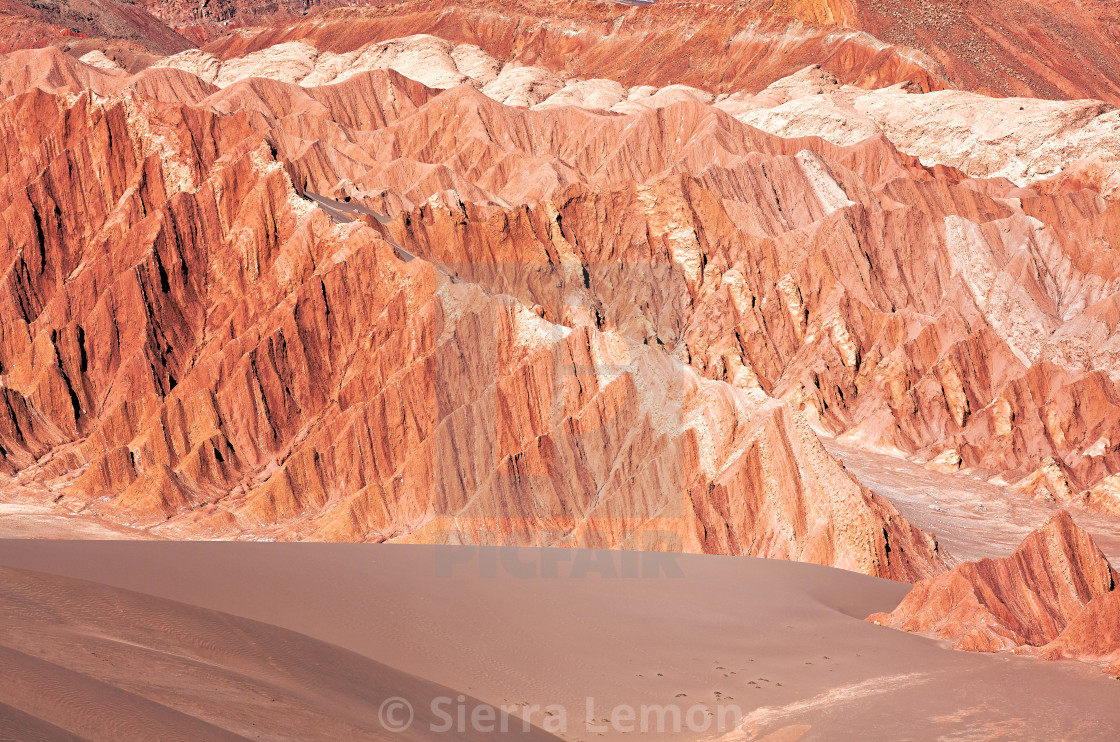 """Red rocks, Valley of the Moon, Atacama desert, Chile"" stock image"