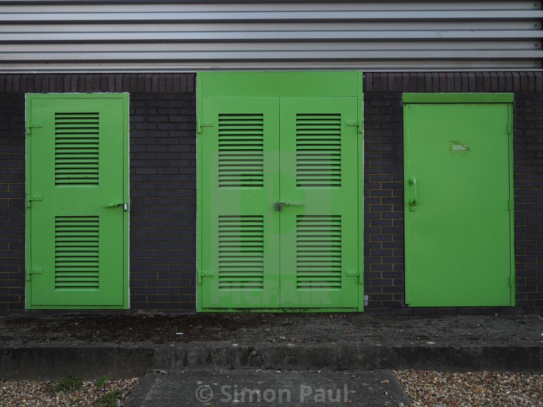 """""""Green Doors"""" stock image"""