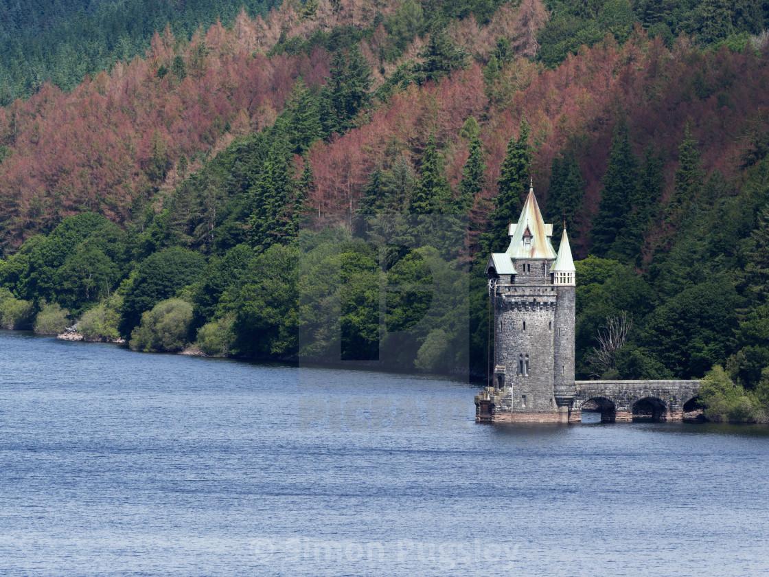 """Tower at Lake Vyrnwy"" stock image"