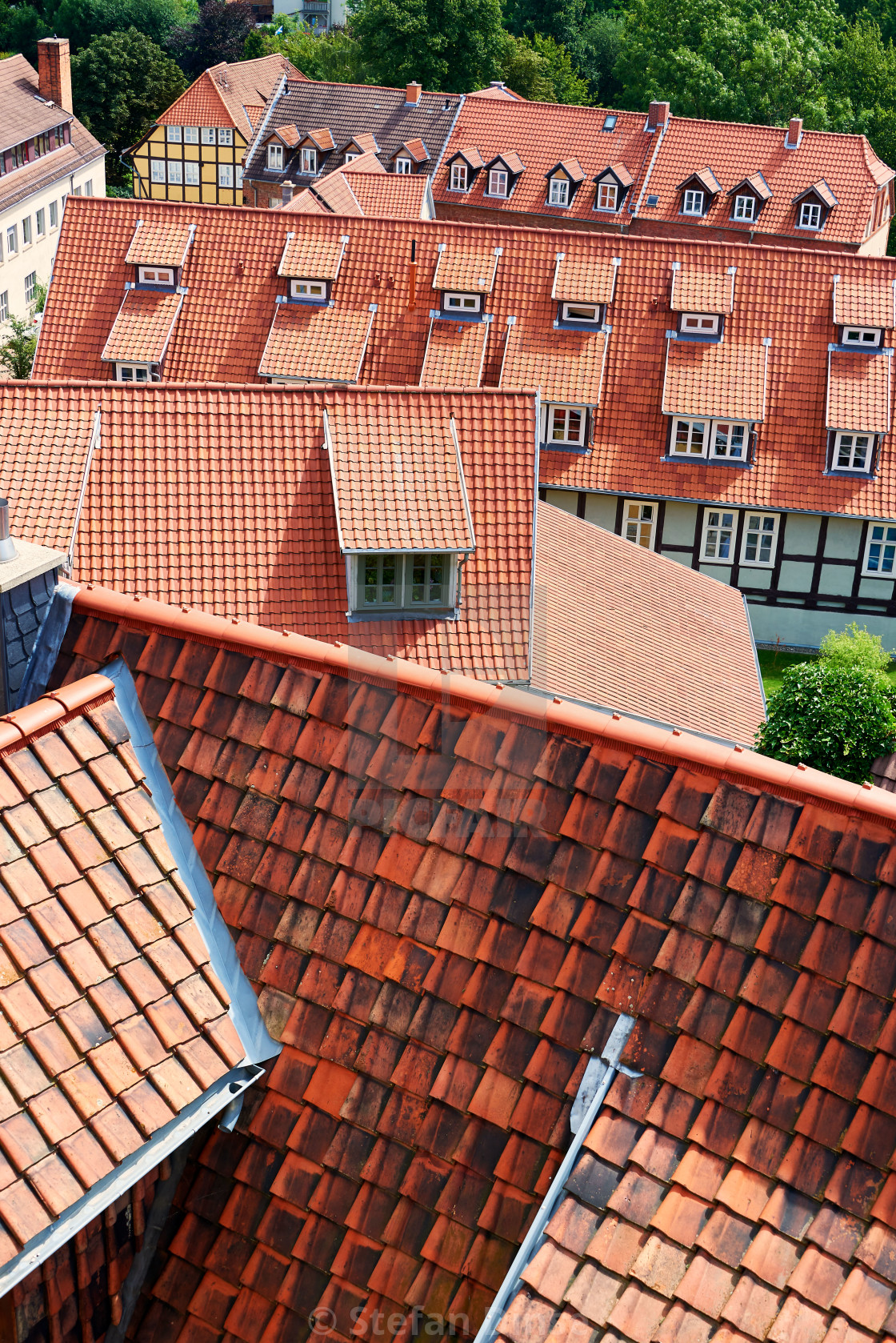 """top view on medieval town with red roof tiles"" stock image"