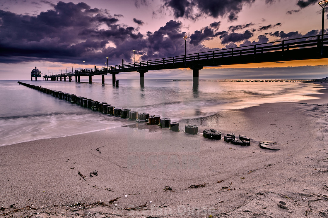 """morning mood at sandy beach in Zingst Mecklenburg-Westpommerania Germany"" stock image"