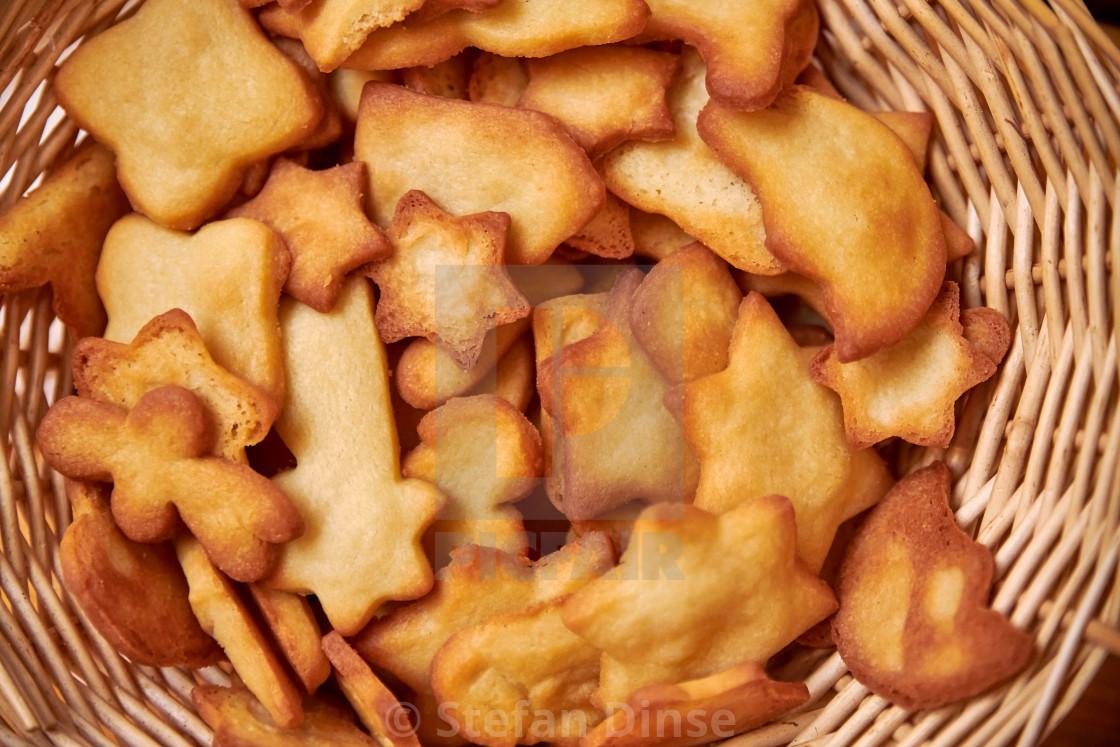 """a basket full of tasty handmade christmas cookies"" stock image"