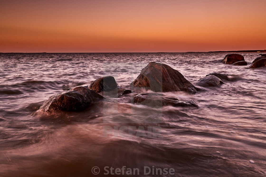 """rocky baltic seascape in the evening"" stock image"