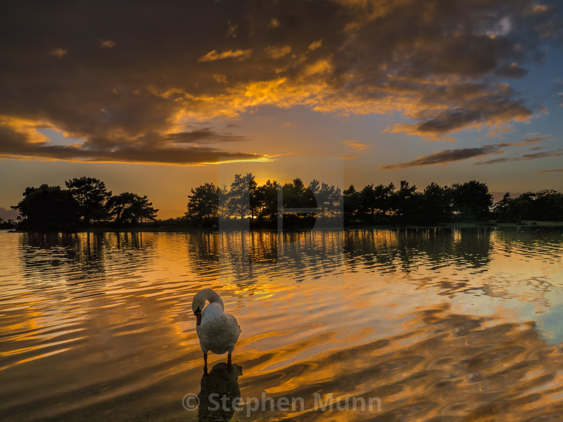 """Sunset over Hatchet Pond, New Forest National Park"" stock image"