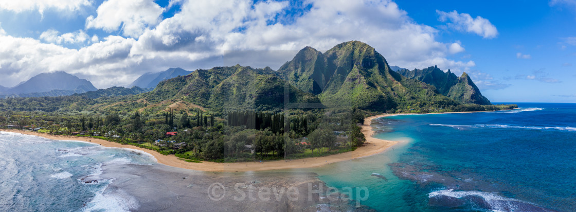 Aerial drone shot of Tunnels Beach on the north shore of Kauai in Hawaii