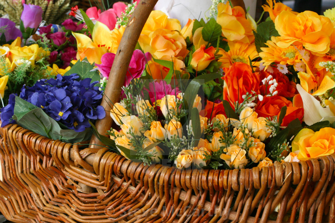 """basket of flowers"" stock image"