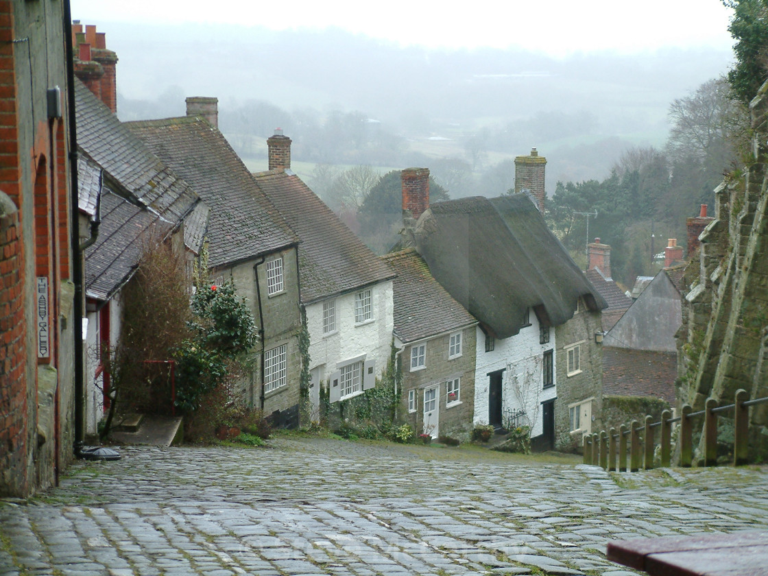 """Gold hill, Shaftesbury"" stock image"