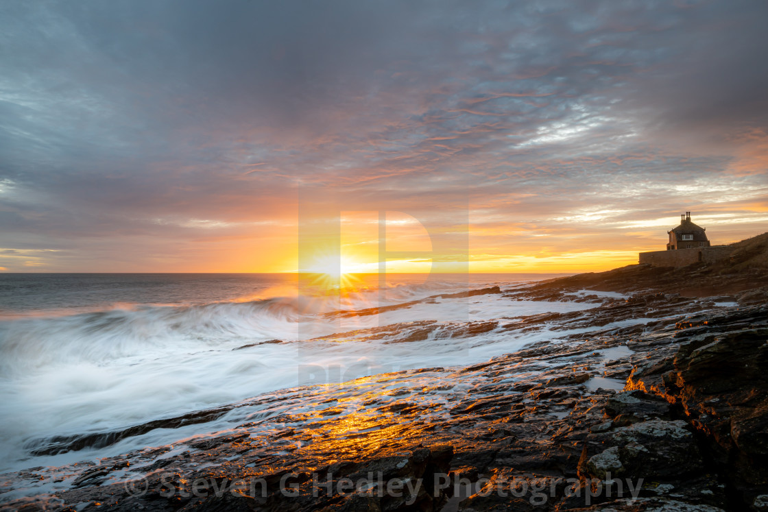 """""""Sunrise and waves, The Bathing House."""" stock image"""