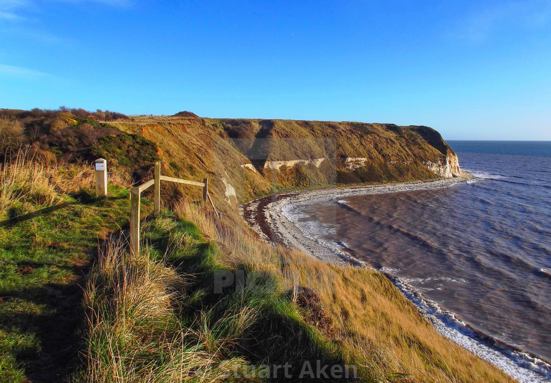 """Winter Sun on Path to Flamborough"" stock image"