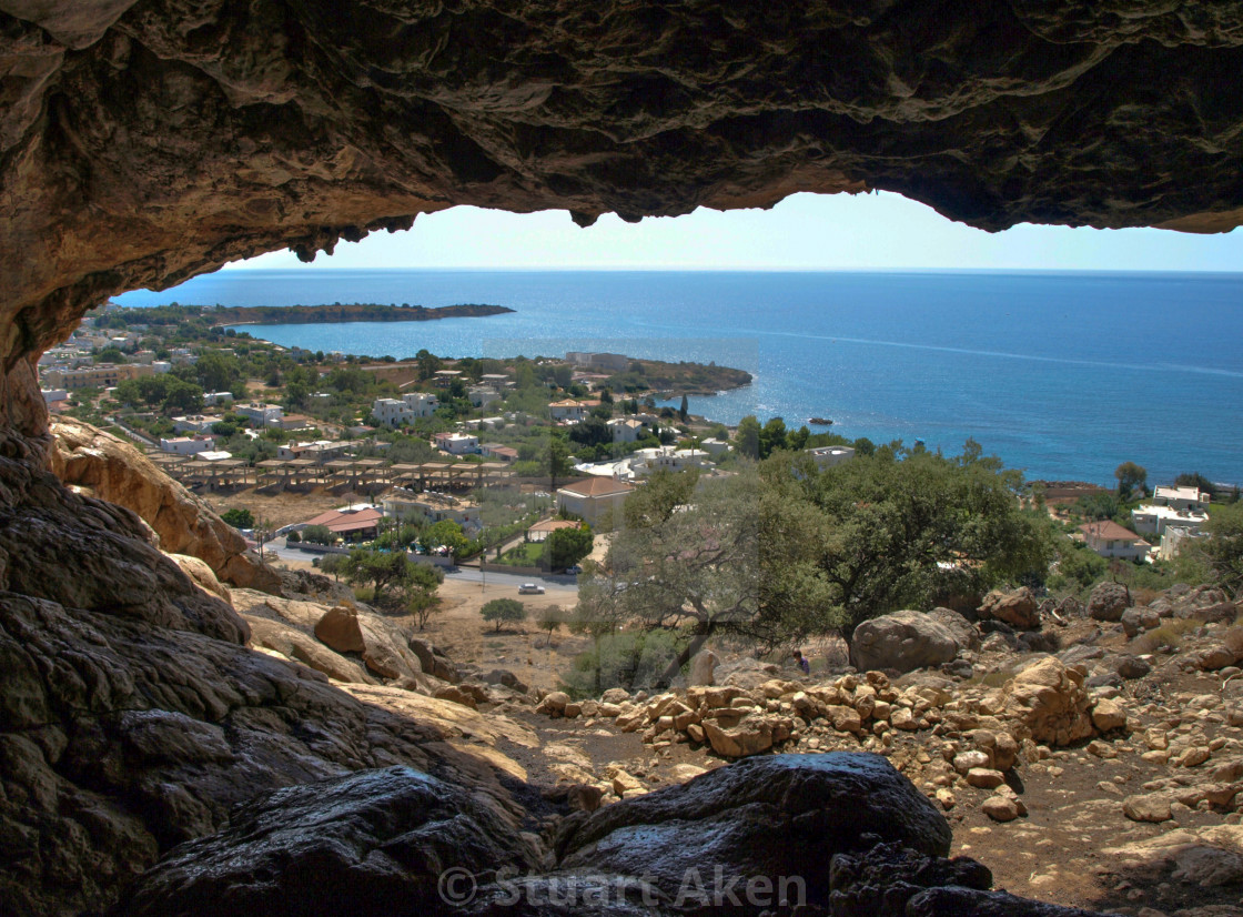 """""""Cave overlooking Pefkos"""" stock image"""