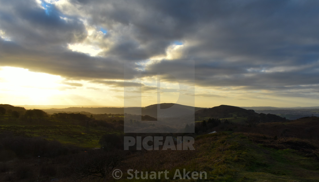 """Evening Light over Caerphilly Mountain"" stock image"