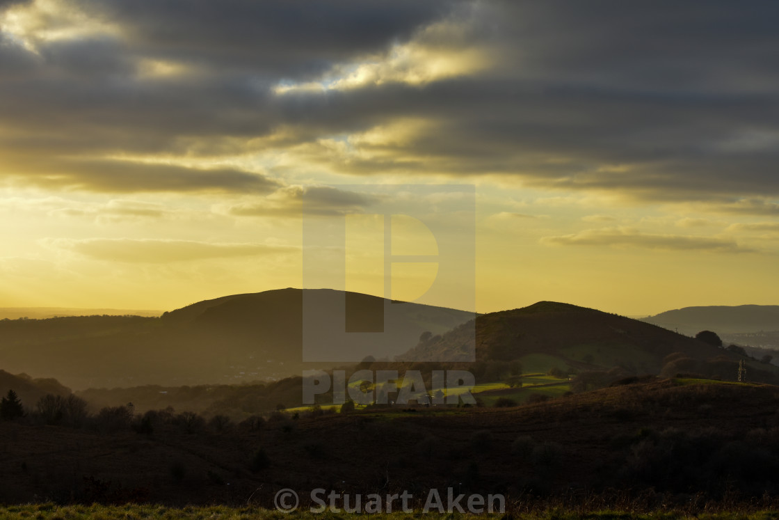 """""""Golden Glow over Caerphilly Mountain"""" stock image"""