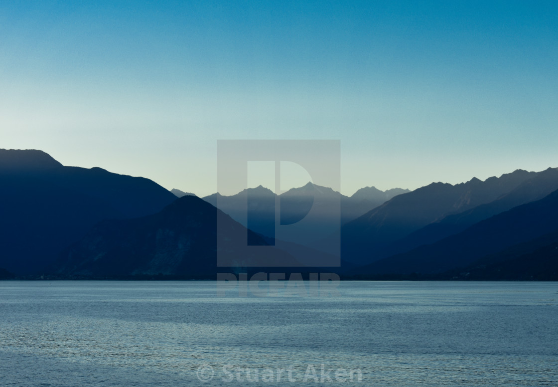 """Lake Maggiore after Sundown"" stock image"