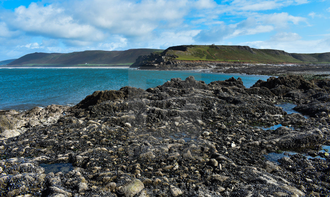 """Rhosilli Worms Head Looking into the Bay"" stock image"