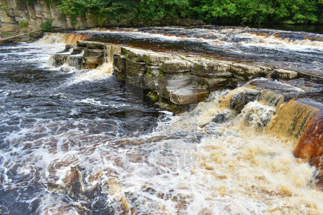 """River Swale Waterfalls at Richmond"" stock image"