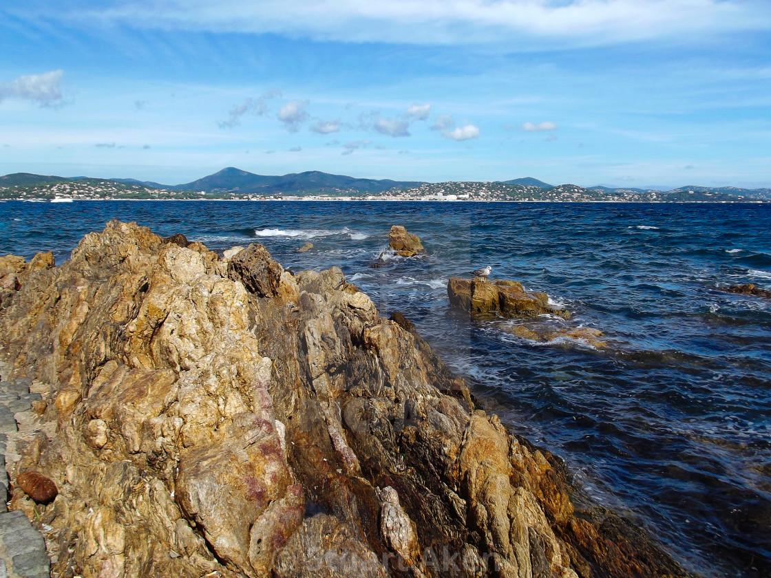 """Rocky Coast in St Tropez"" stock image"