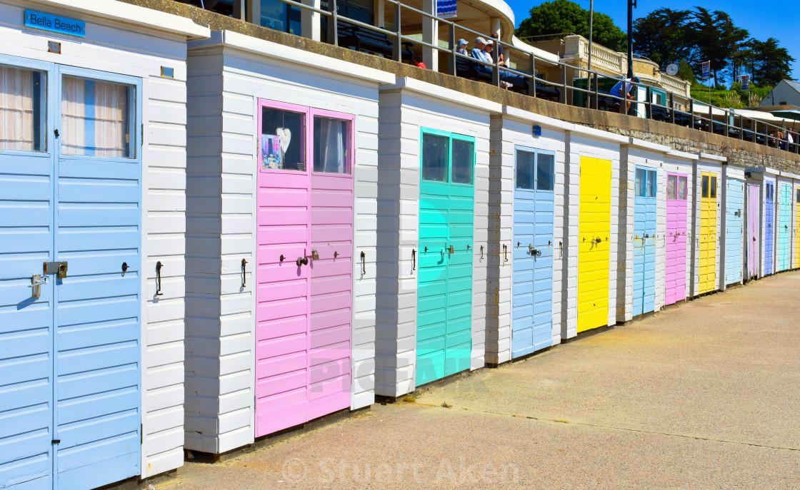 """Row of Beach Huts at Lyme Regis"" stock image"