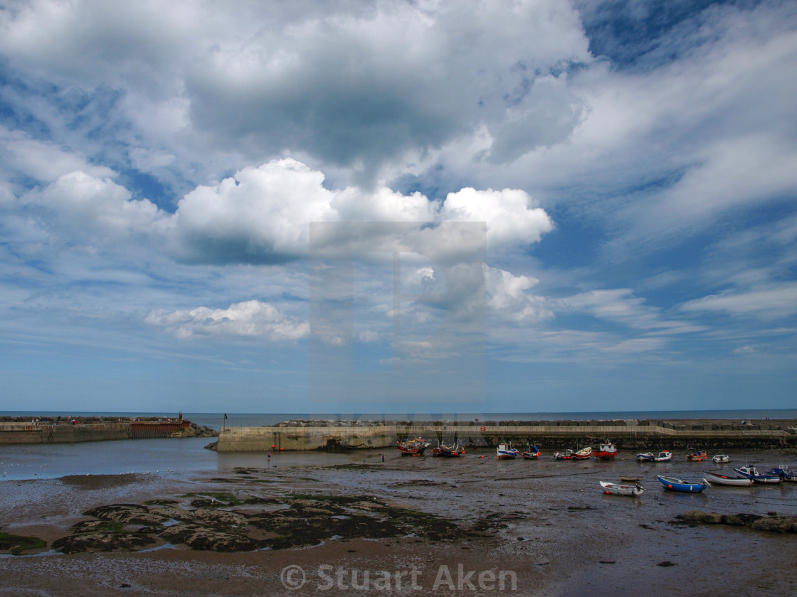 """""""Staithes Harbour"""" stock image"""