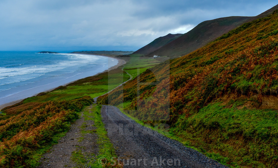 """""""Storm Clearing Rhossili Bay"""" stock image"""