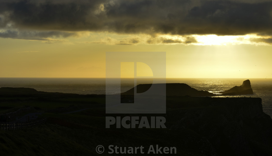 """Sunset over Worm's Head #2"" stock image"