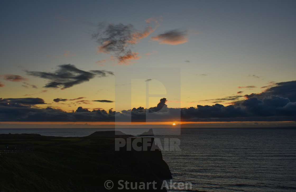 """""""Sunset over Worm's Head #7"""" stock image"""