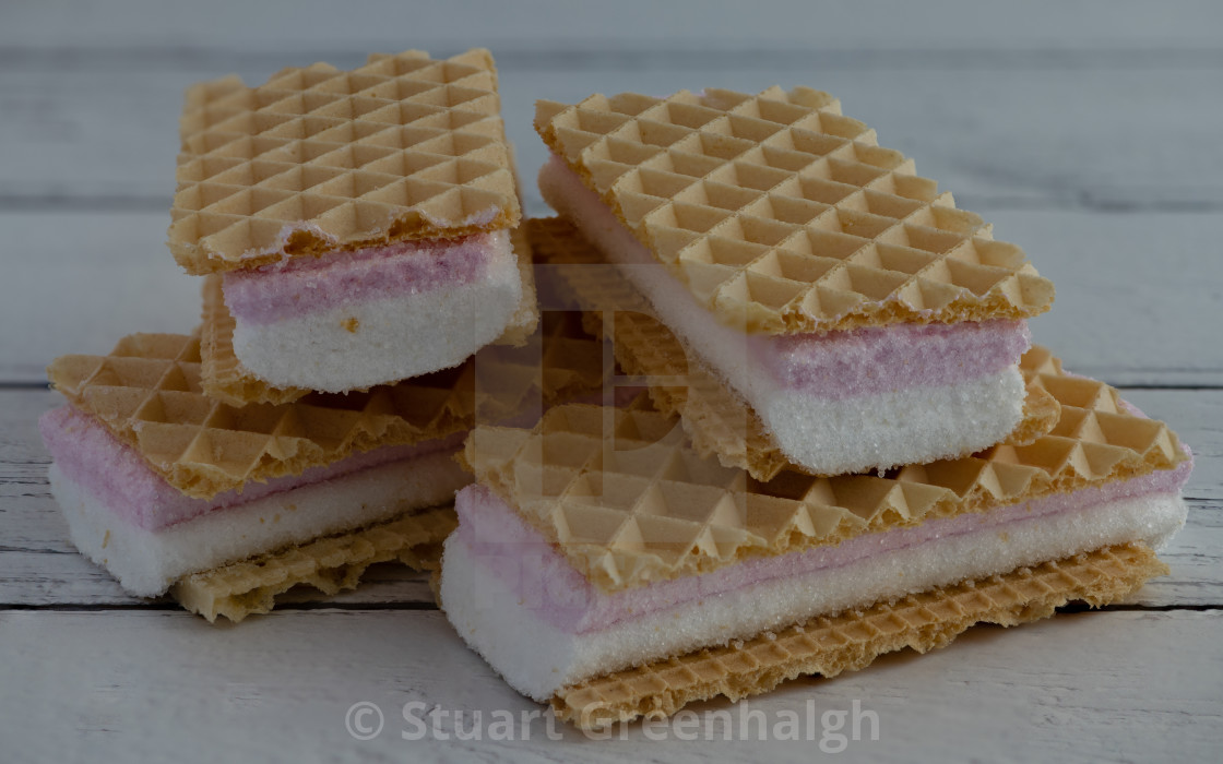 """Pink and White Wafers"" stock image"