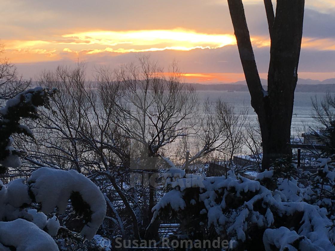 """Snowy Sunset"" stock image"