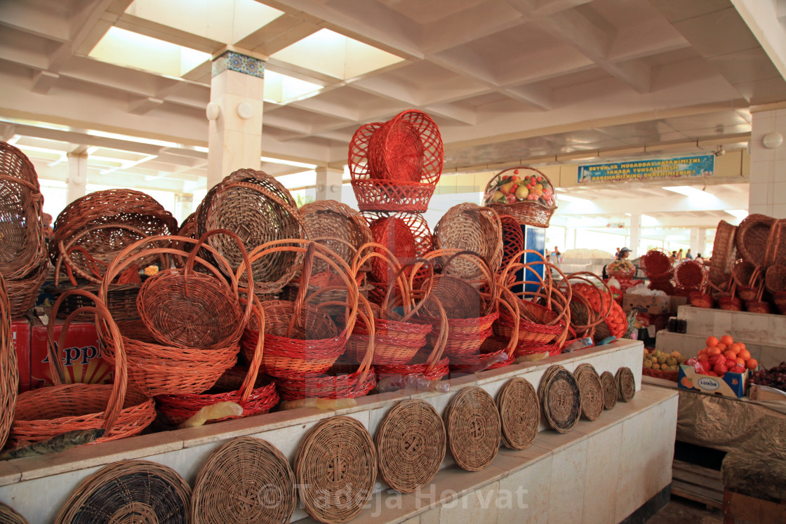 """Hand made baskets at the local market"" stock image"