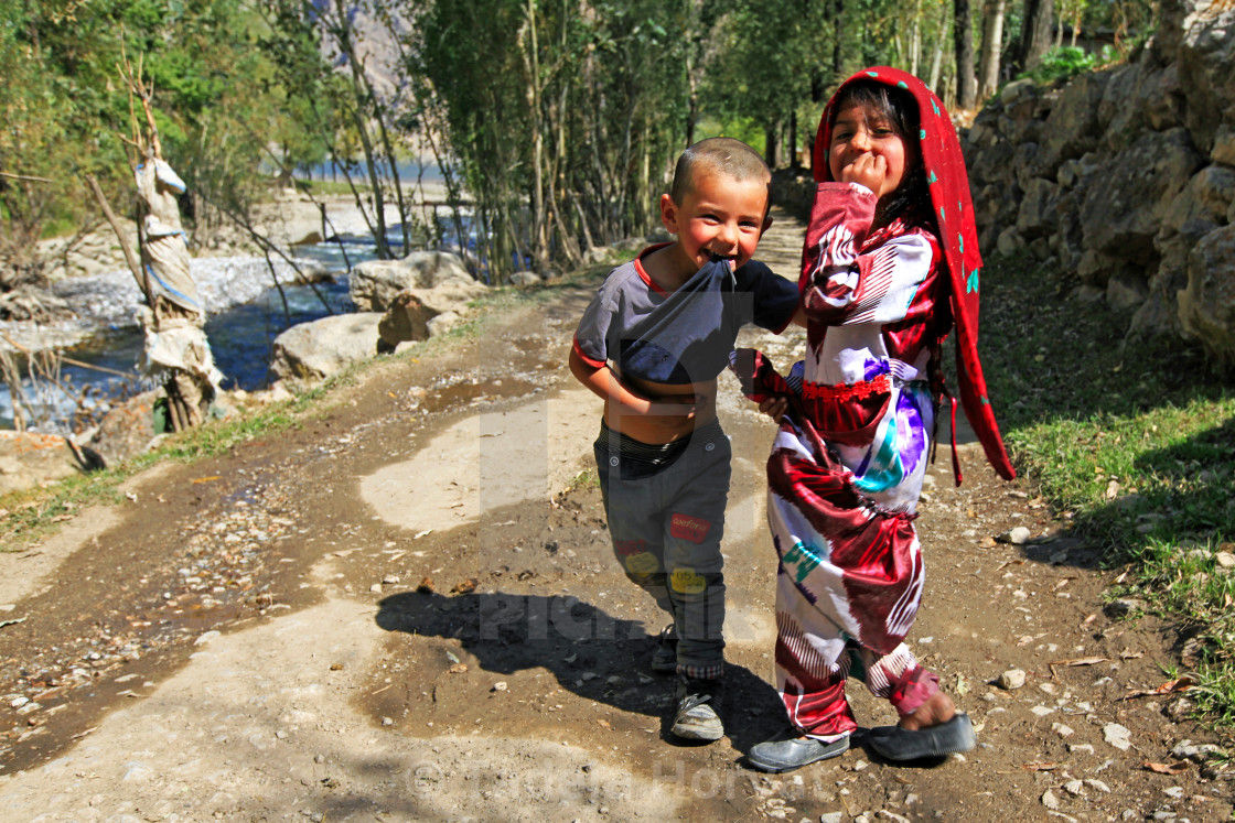 """Happy children in Fann mountains"" stock image"