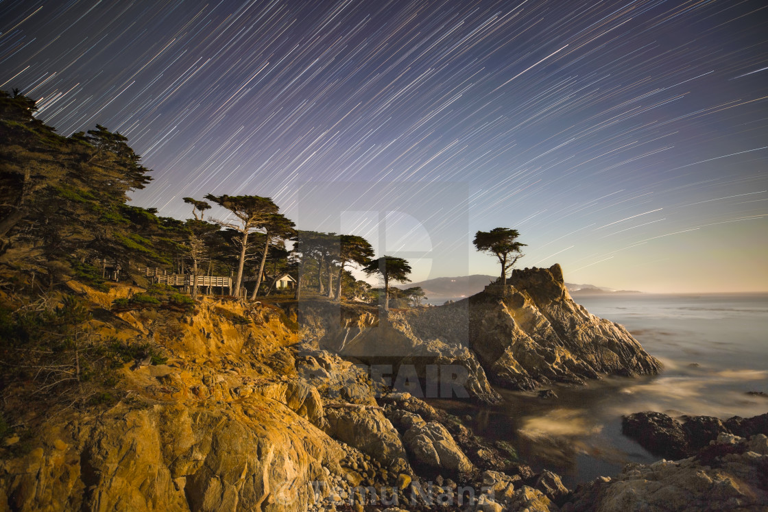 """Star Trails Over Pebble Beach"" stock image"
