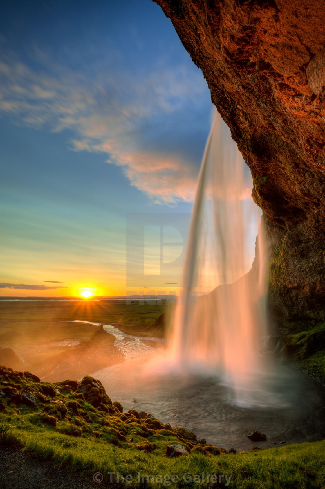 """Sunset at Seljalandsfoss"" stock image"