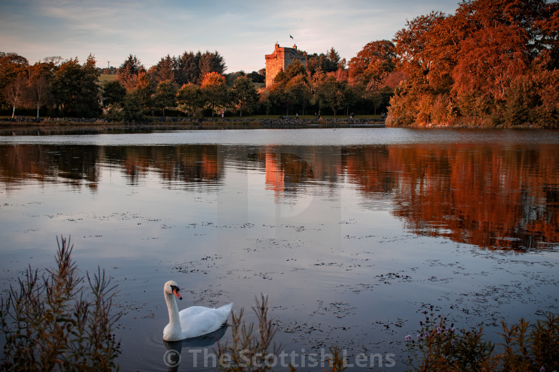 """""""Autumn Sunset at the Loch"""" stock image"""