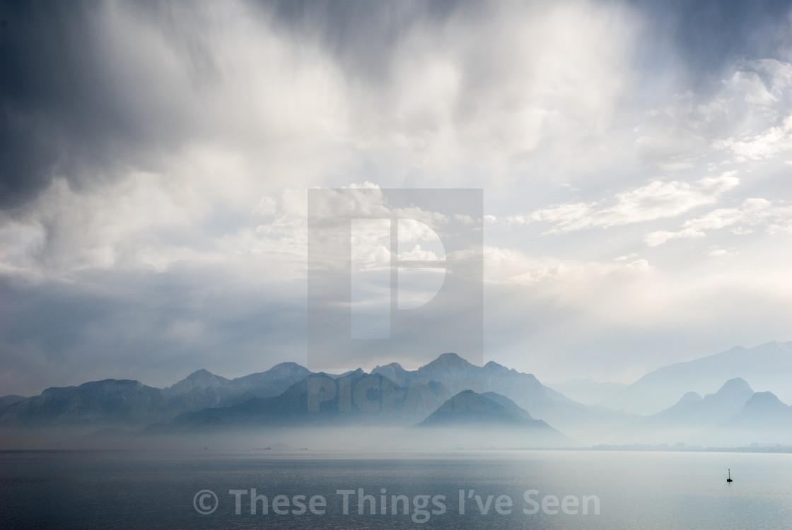 """Cloud mountain drama"" stock image"