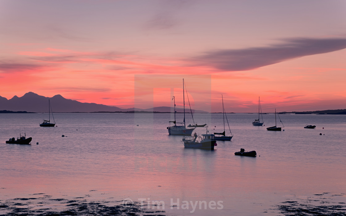 """""""Sunset, Rhue by Arisaig"""" stock image"""