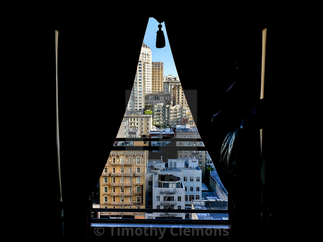 """""""View from a hotel in San Francisco"""" stock image"""