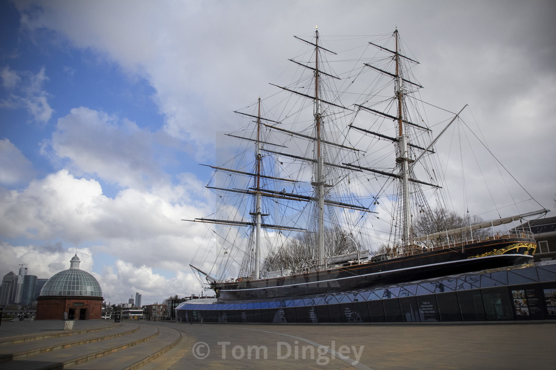"""""""Cutty Sark at Greenwich Pier"""" stock image"""