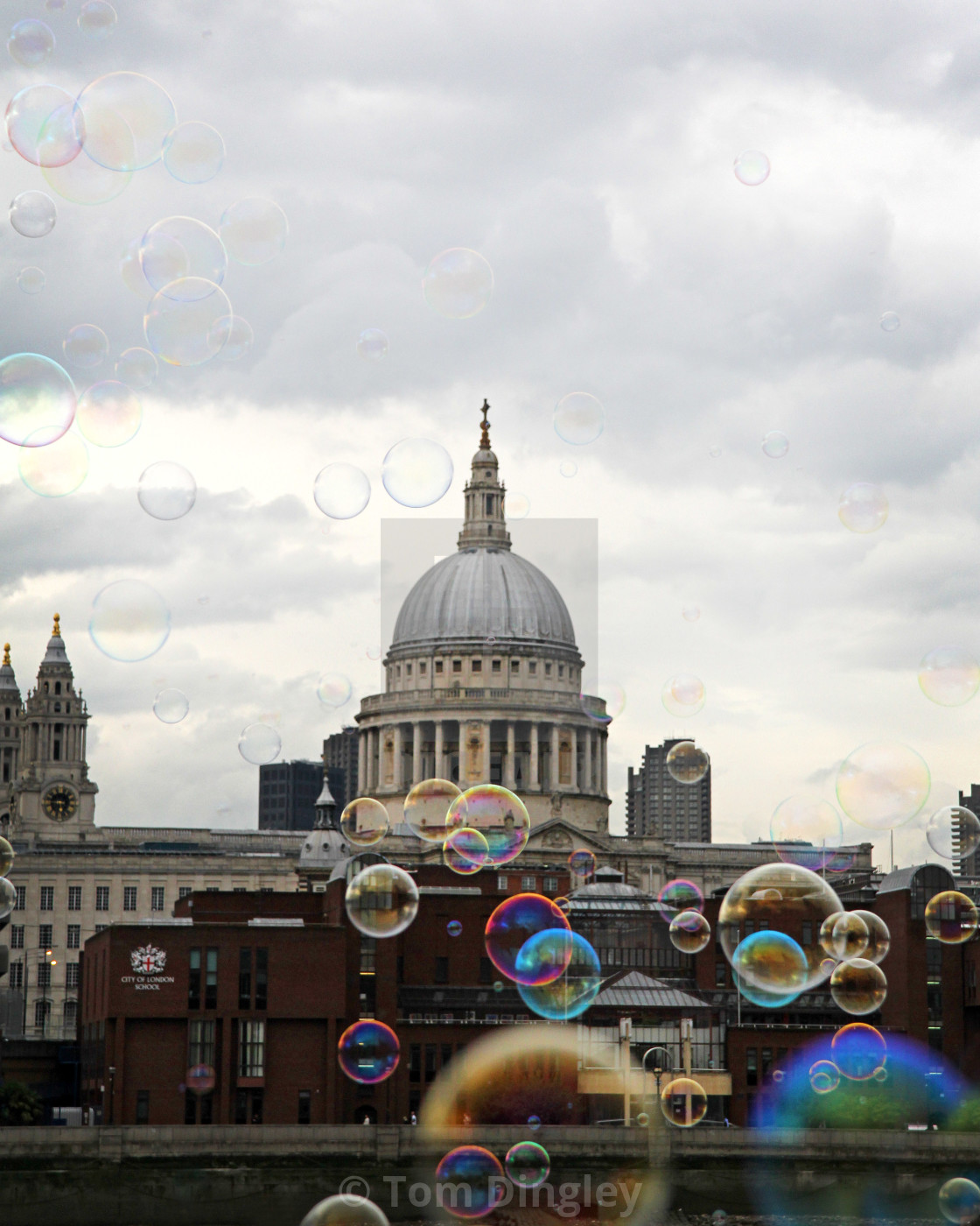 """""""Bubbles at St Paul's Cathedral"""" stock image"""