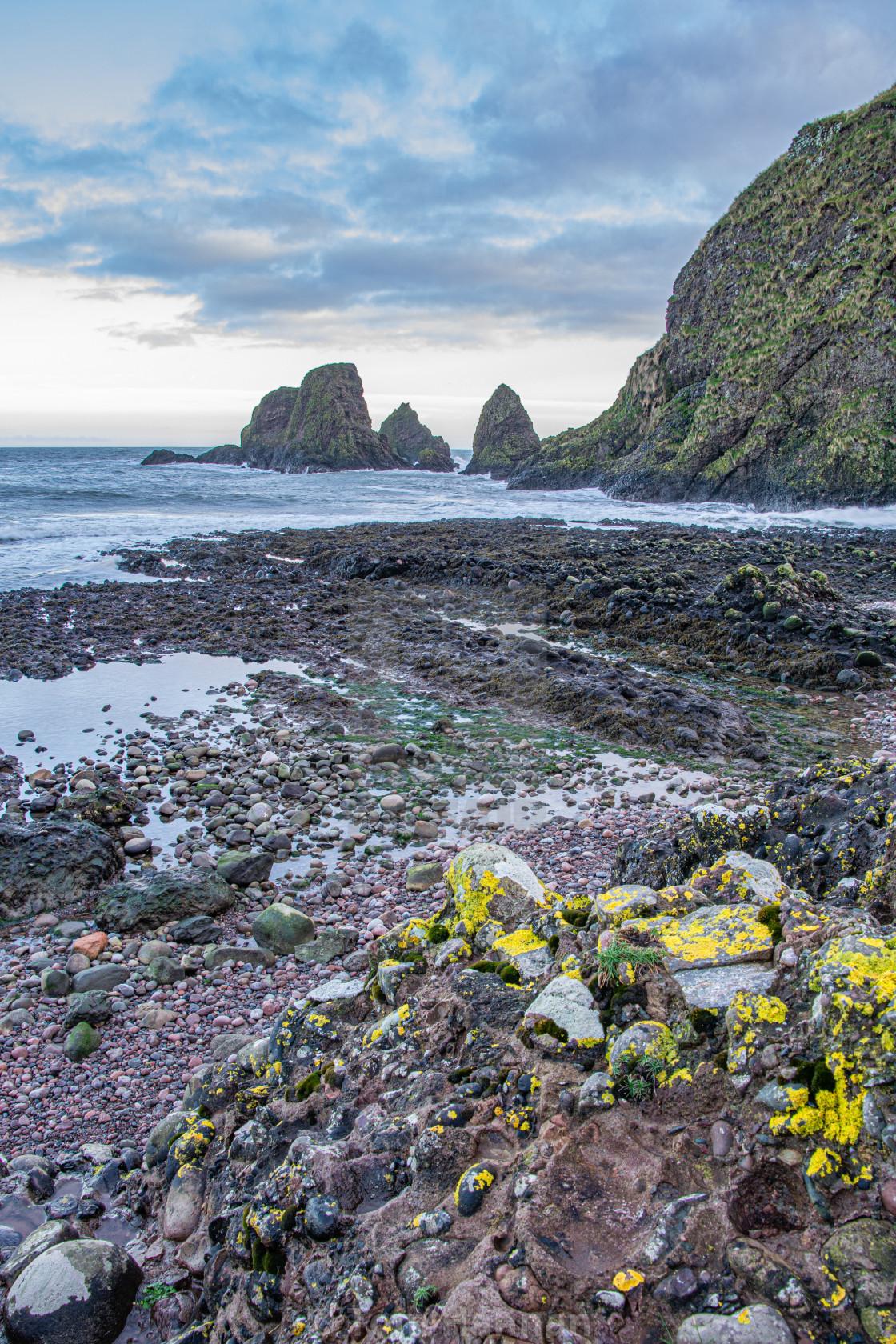 """Dunnottar Bay Sea Stacks"" stock image"