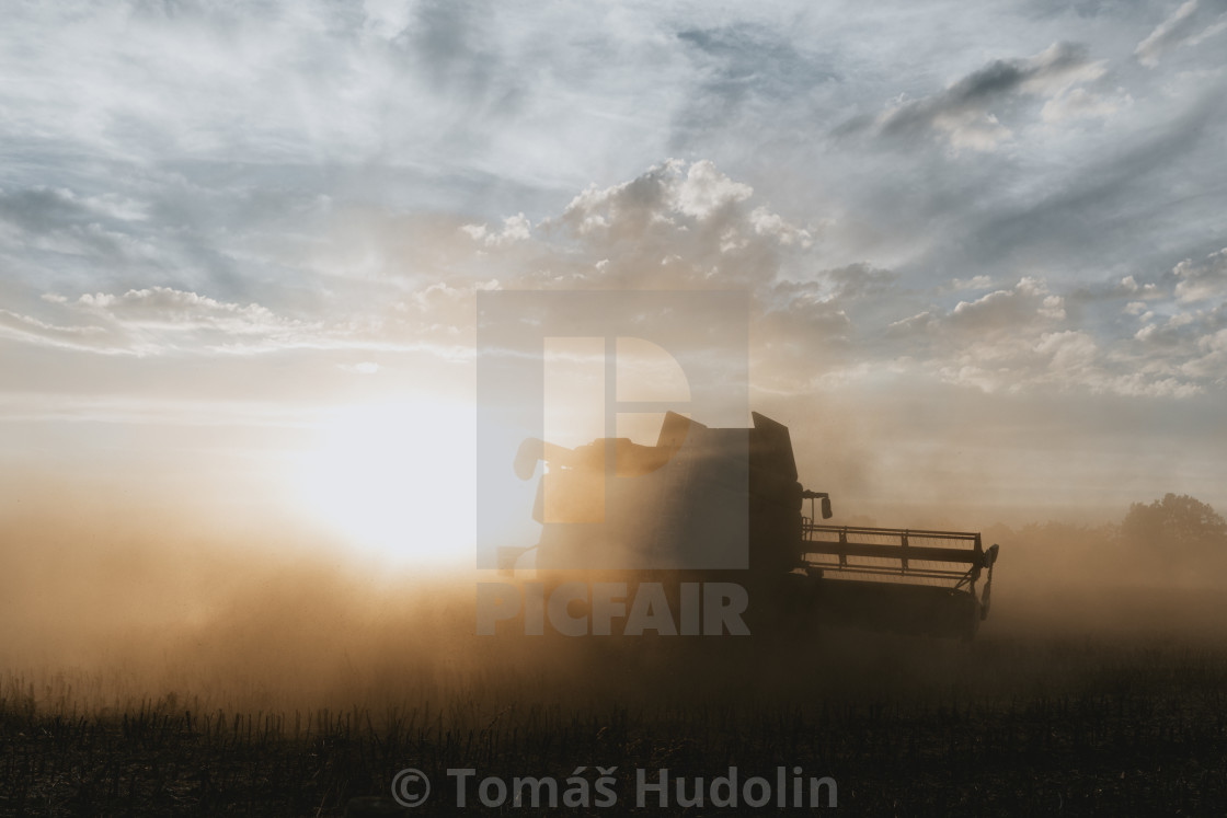 """""""Silhouette of combine harvester in the light of sunset"""" stock image"""