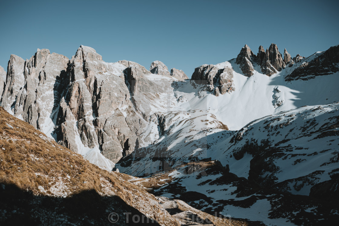 """""""Scenic ridge of mountains in North Italy"""" stock image"""