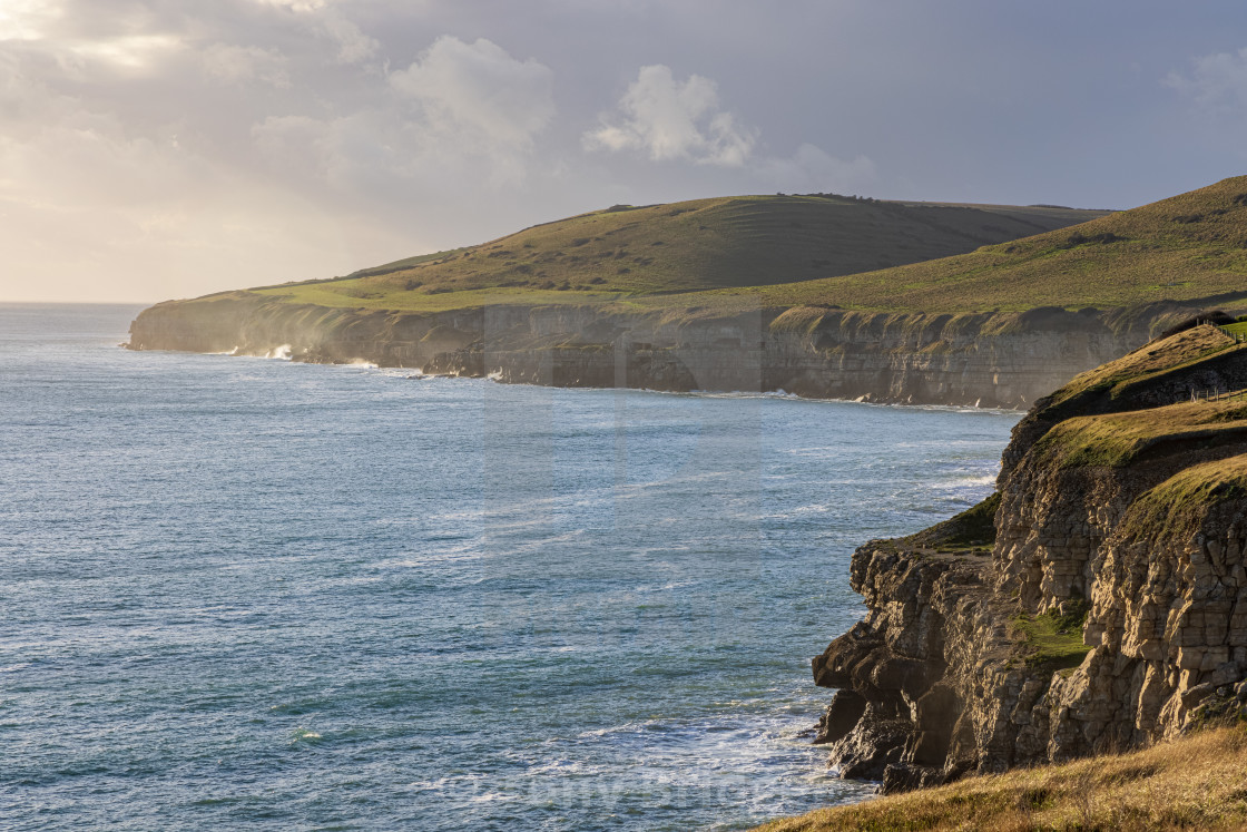 """""""Looking towards Winspit and St Aldhelm's Head"""" stock image"""