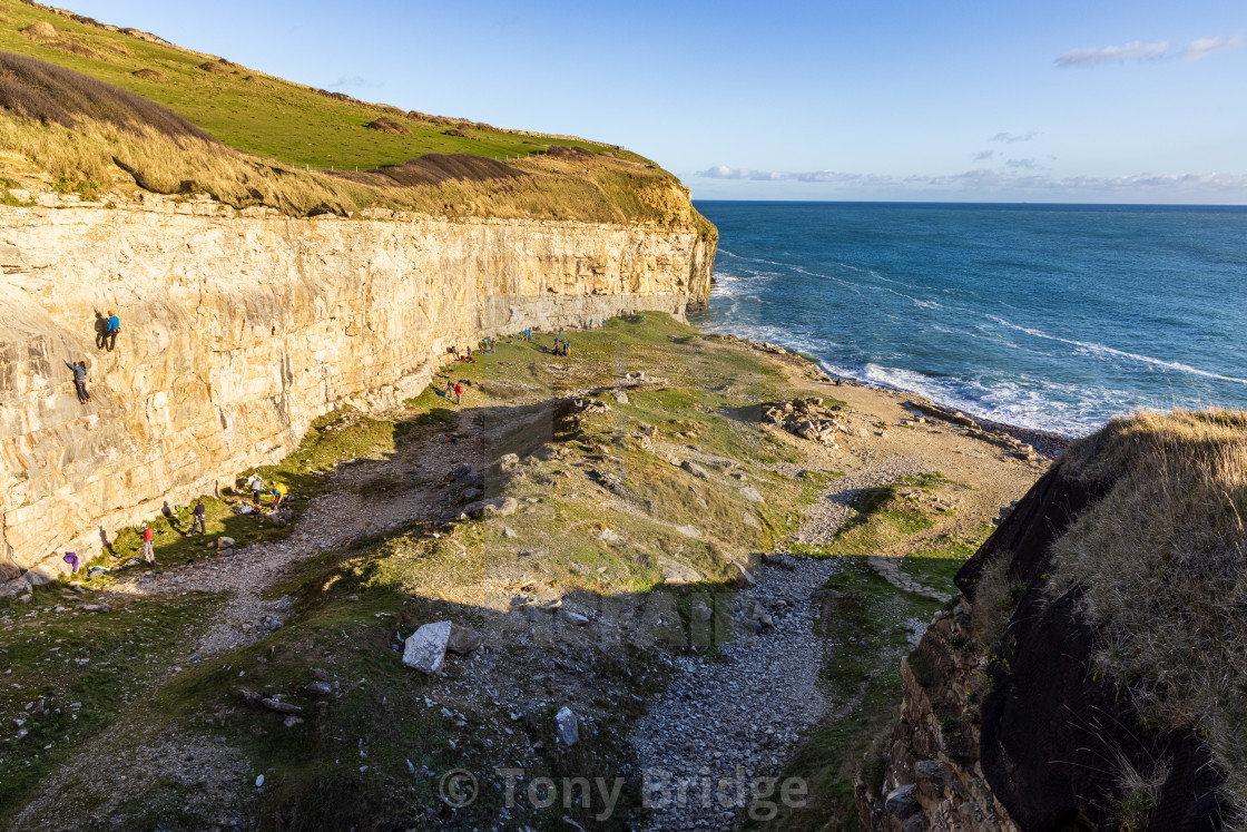 """""""December afternoon at Dancing Ledge"""" stock image"""