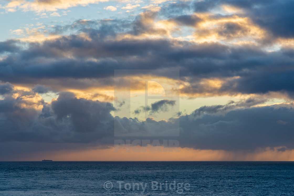 """""""Pastel sky off the Purbeck coast"""" stock image"""