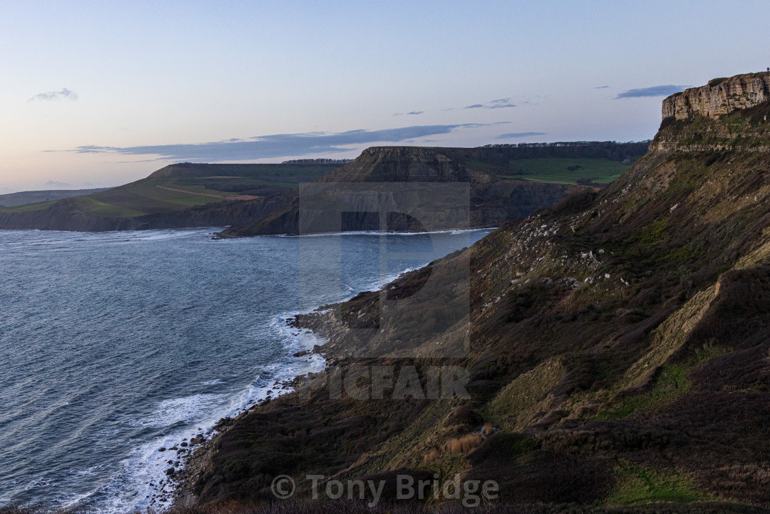 """""""Dusk over the Purbeck Coast"""" stock image"""