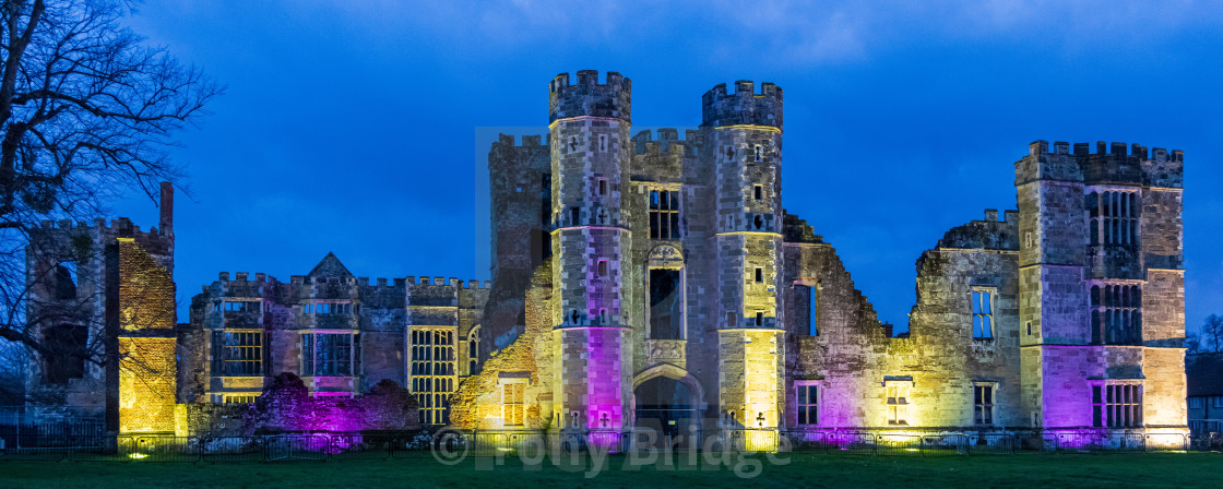 """The floodlit ruins of Cowdray Castle"" stock image"