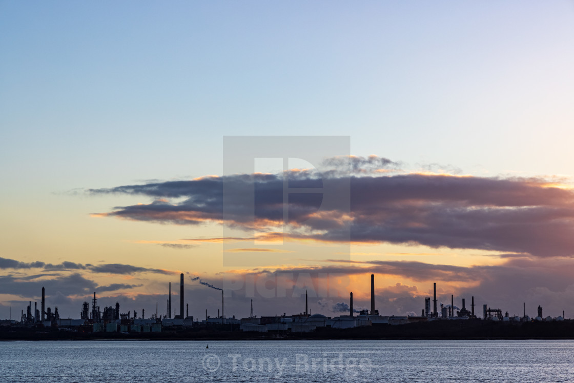 """Sunset behind the Fawley oil refinery"" stock image"